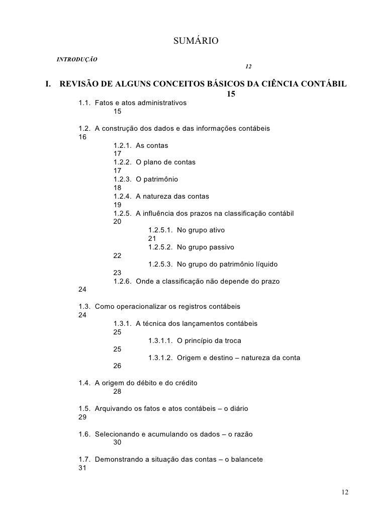 SUMÁRIO   INTRODUÇÃO                                                           12  I. REVISÃO DE ALGUNS CONCEITOS BÁSICOS ...