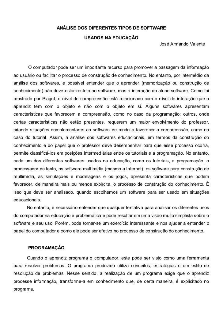 ANÁLISE DOS DIFERENTES TIPOS DE SOFTWARE                                   USADOS NA EDUCAÇÃO                             ...
