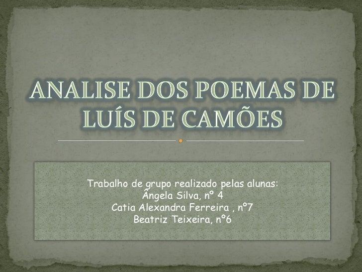 Luis de Camoes poemas analisados