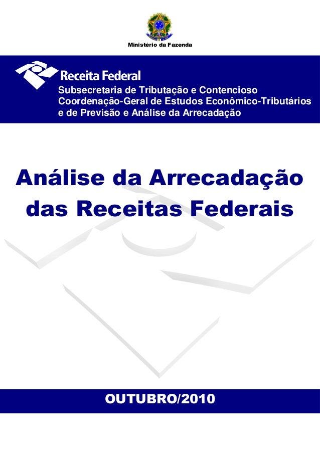 OUTUBRO/2010 Análise da Arrecadação das Receitas Federais Subsecretaria de Tributação e Contencioso Coordenação-Geral de E...