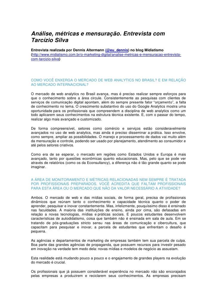 Análise, Métricas e Mensuração - Entrevista para o site Midiatismo