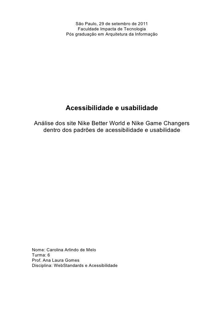 São Paulo, 29 de setembro de 2011                     Faculdade Impacta de Tecnologia                Pós graduação em Arqu...