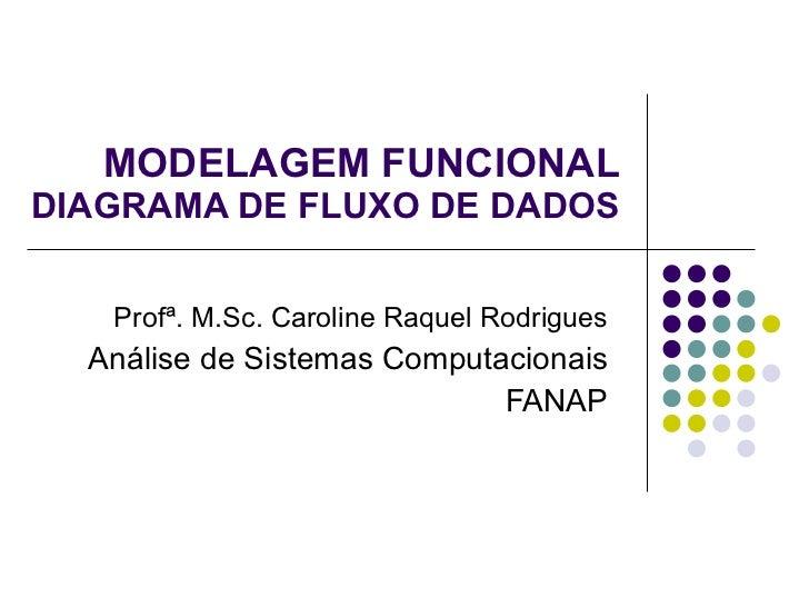 MODELAGEM FUNCIONAL DIAGRAMA DE FLUXO DE DADOS Profª. M.Sc. Caroline Raquel Rodrigues Análise de Sistemas Computacionais F...