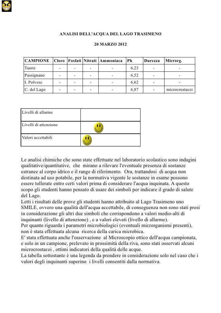 ANALISI DELLACQUA DEL LAGO TRASIMENO                                         20 MARZO 2012 CAMPIONE            Cloro Fosfa...