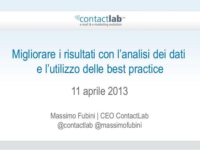 Migliorare i risultati con l'analisi dei dati      e l'utilizzo delle best practice               11 aprile 2013         M...