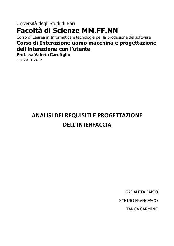 Analisi Dei Requisiti E Progettazione Dellinterazione