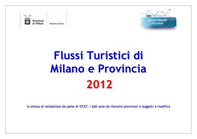 Analisi flussi turistici 2012