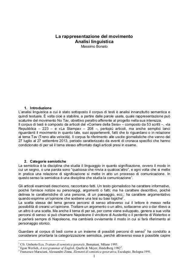 La rappresentazione del movimento Analisi linguistica Massimo Bonato  1. Introduzione L'analisi linguistica a cui è stato ...