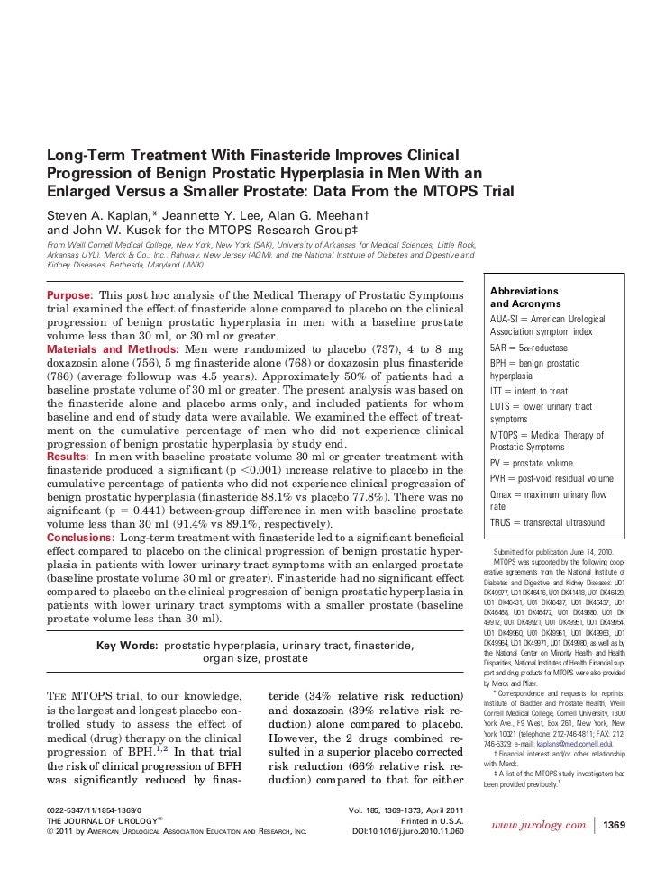 Finasteride riduce la progressione clinica della IPB in pazienti con ingrossamento della prostatsAnalisi post hoc dei risultati dello studio clinico mtops