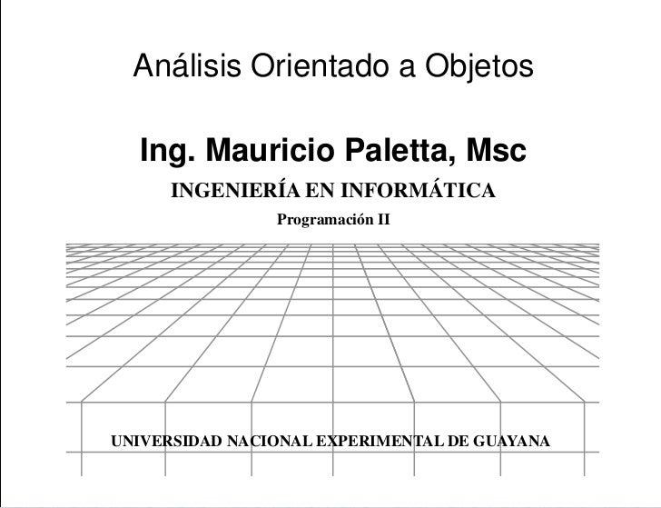 Presentación  Análisis Orientado a Objetos  Ing. Mauricio Paletta, Msc      INGENIERÍA EN INFORMÁTICA                Progr...