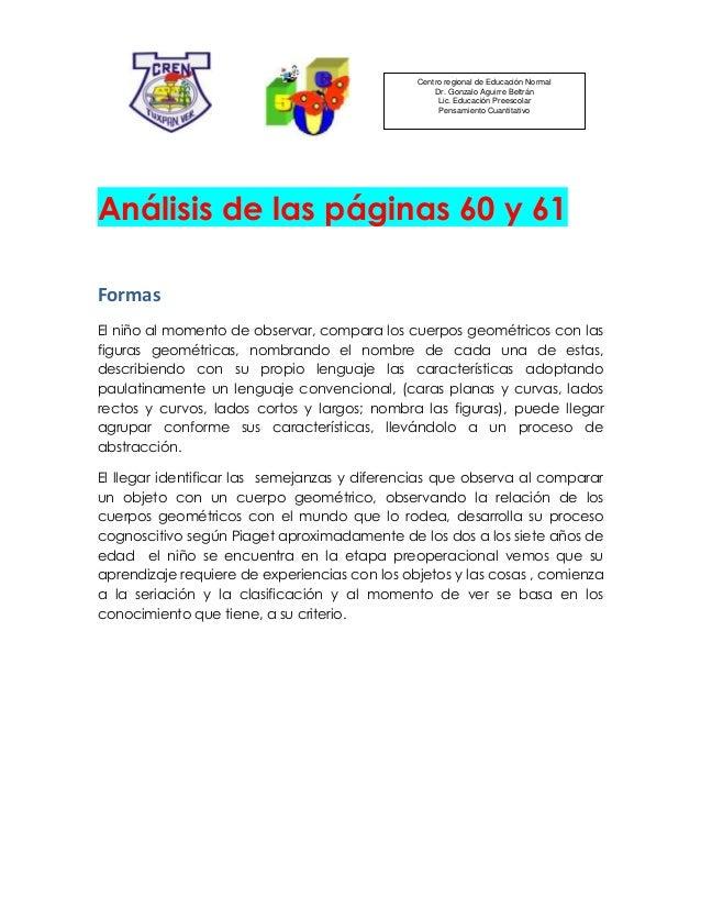 Centro regional de Educación NormalDr. Gonzalo Aguirre BeltránLic. Educación PreescolarPensamiento CuantitativoAnálisis de...