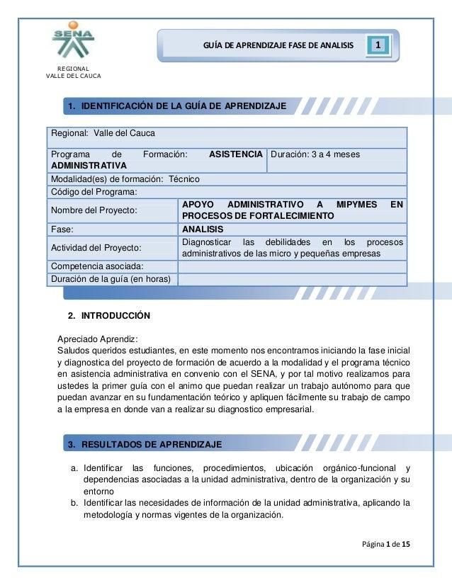 REGIONAL VALLE DEL CAUCA Página 1 de 15 GUÍA DE APRENDIZAJE FASE DE ANALISIS 1 1. IDENTIFICACIÓN DE LA GUÍA DE APRENDIZAJE...