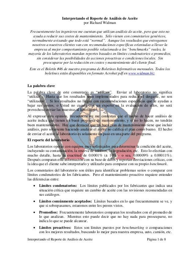 Interpretando el Reporte de Análisis de Aceite Página 1 de 8 Interpretando el Reporte de Análisis de Aceite por Richard Wi...