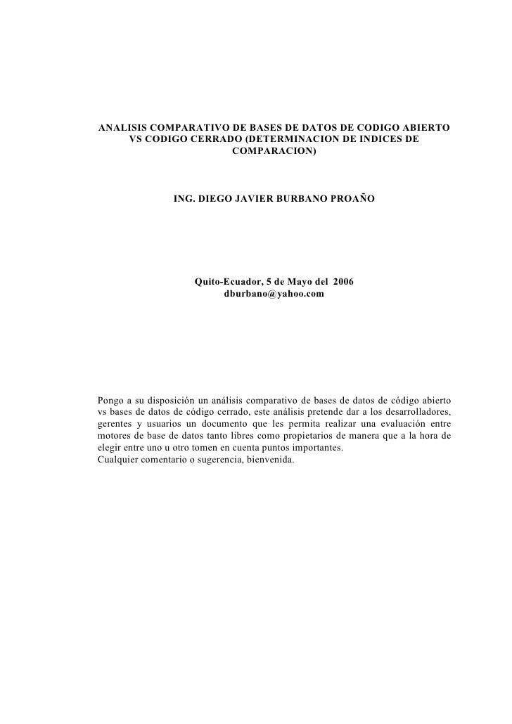 ANALISIS COMPARATIVO DE BASES DE DATOS DE CODIGO ABIERTO    VS CODIGO CERRADO (DETERMINACION DE INDICES DE                ...