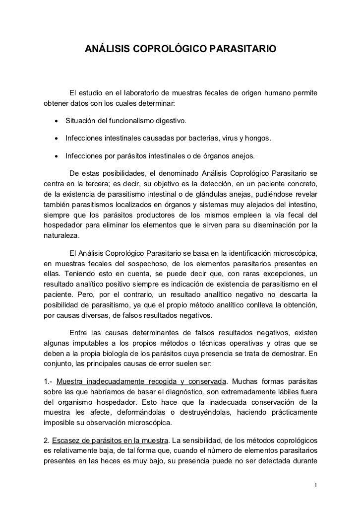 ANÁLISIS COPROLÓGICO PARASITARIO        El estudio en el laboratorio de muestras fecales de origen humano permiteobtener d...