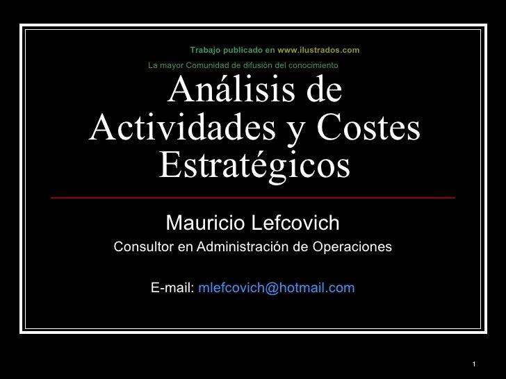 Análisis de actividades y Costos Estratégicos