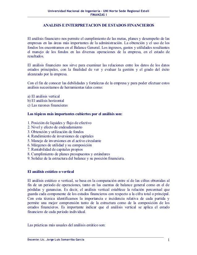 Universidad Nacional de Ingeniería – UNI Norte Sede Regional Estelí                                         FINANZAS I    ...