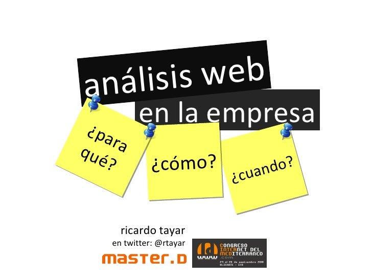 Analisis web en la empresa. Congreso internet del Mediterráneo 2010.