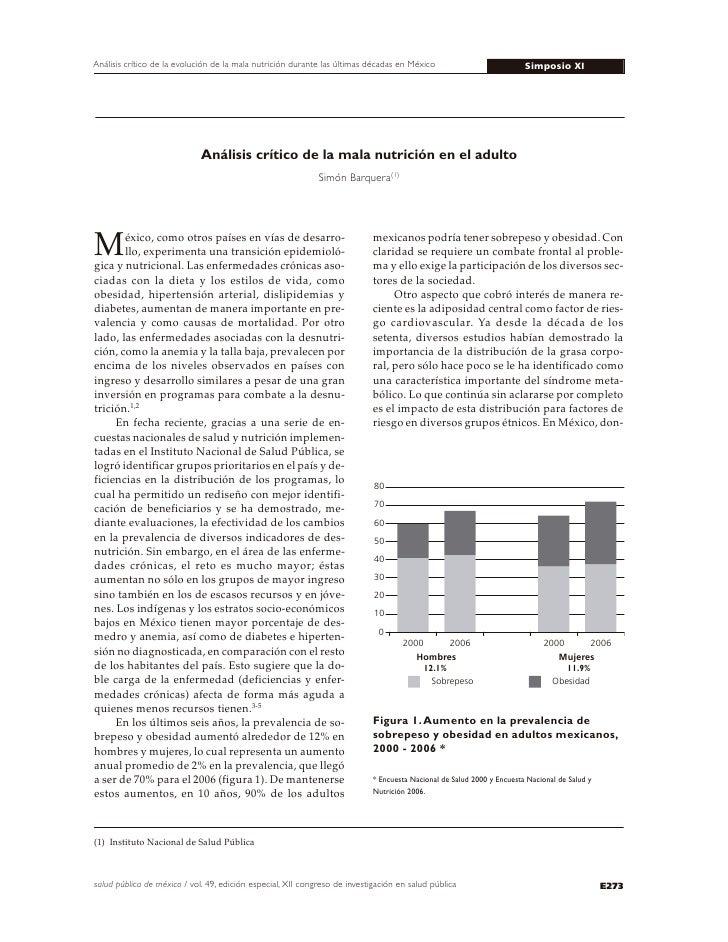 Análisis crítico de la evolución de la mala nutrición durante las últimas décadas en México                             Si...