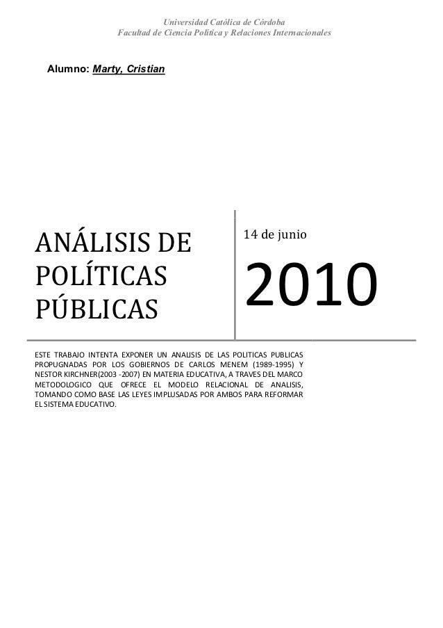 Analisis politicas-educativas-c-menem-y-n-kirchner