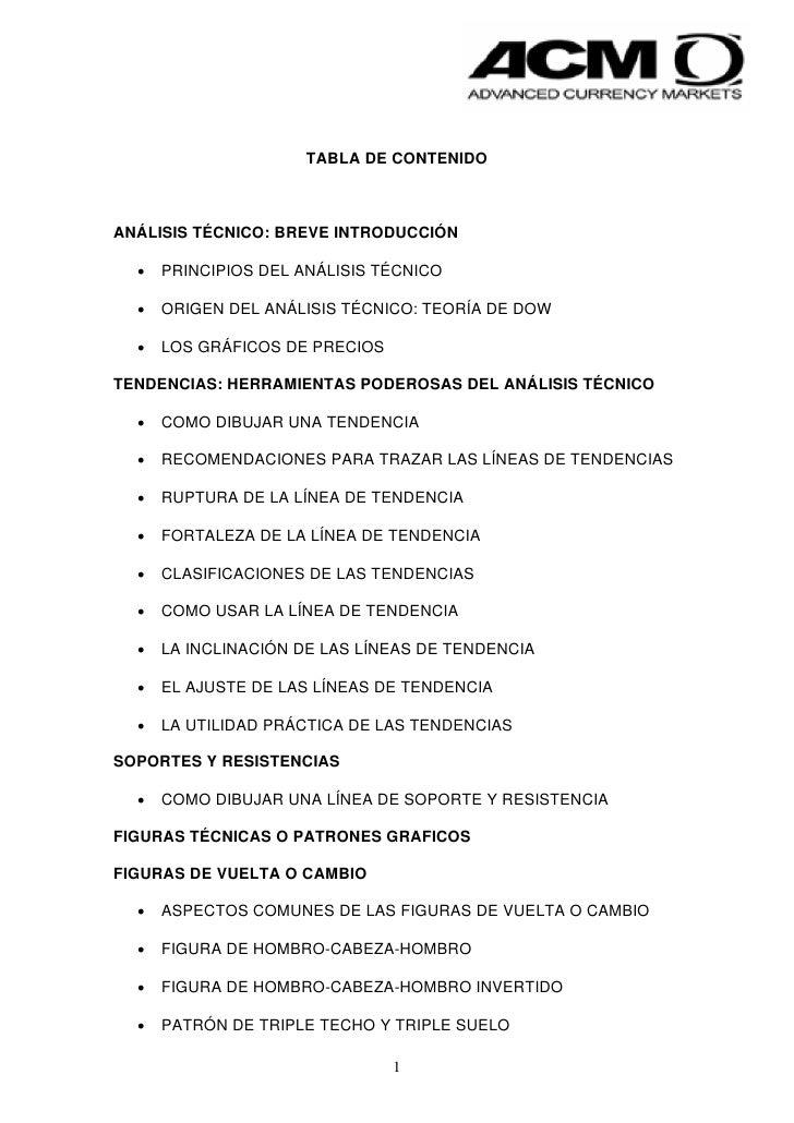 TABLA DE CONTENIDOANÁLISIS TÉCNICO: BREVE INTRODUCCIÓN  •   PRINCIPIOS DEL ANÁLISIS TÉCNICO  •   ORIGEN DEL ANÁLISIS TÉCNI...