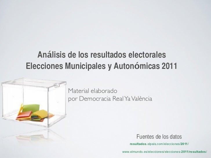 Análisis de los resultados electoralesElecciones Municipales y Autonómicas 2011           Material elaborado           por...