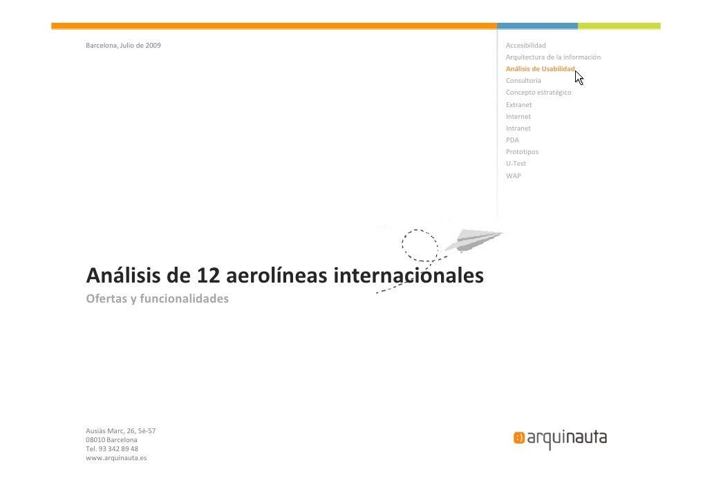 Ofertas y funcionalidades - Analisis 12 Aerolineas internacionales