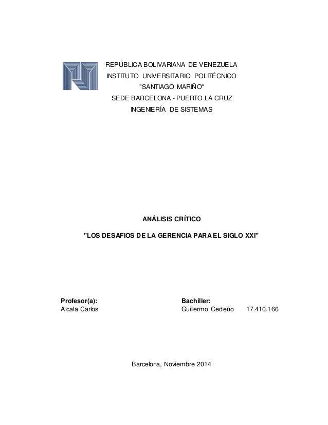 """REPÚBLICA BOLIVARIANA DE VENEZUELA  INSTITUTO UNIVERSITARIO POLITÉCNICO  """"SANTIAGO MARIÑO""""  SEDE BARCELONA - PUERTO LA CRU..."""