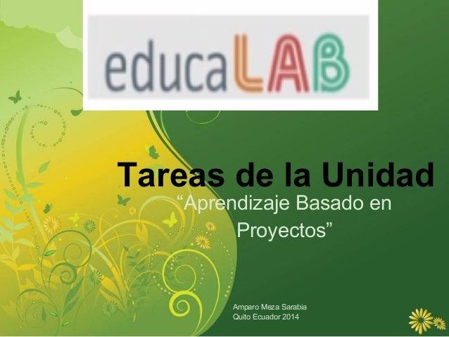 """Tareas de la Unidad """"Aprendizaje Basado en Proyectos"""" Amparo Meza Sarabia Quito Ecuador 2014"""