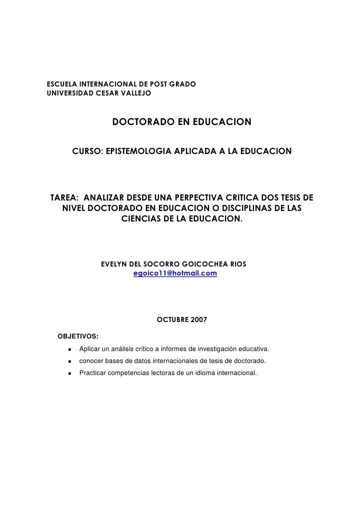 ESCUELA INTERNACIONAL DE POST GRADOUNIVERSIDAD CESAR VALLEJO                  DOCTORADO EN EDUCACION     CURSO: EPISTEMOLO...