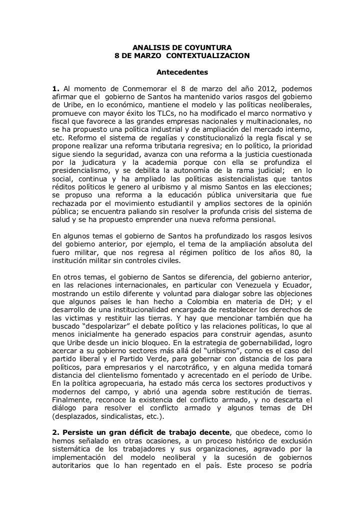 ANALISIS DE COYUNTURA                  8 DE MARZO CONTEXTUALIZACION                               Antecedentes1. Al moment...