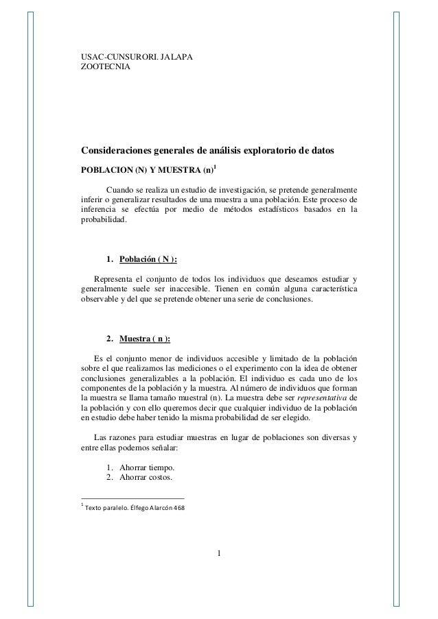 USAC-CUNSURORI. JALAPA ZOOTECNIA 1 Consideraciones generales de análisis exploratorio de datos POBLACION (N) Y MUESTRA (n)...