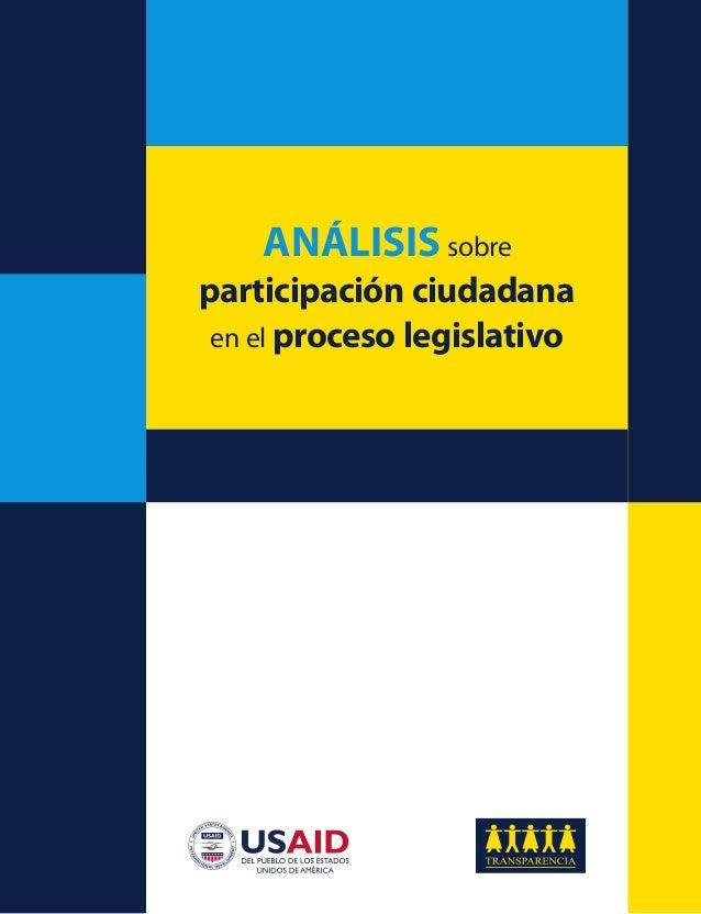 ANÁLISIS sobre participación ciudadana en el proceso legislativo