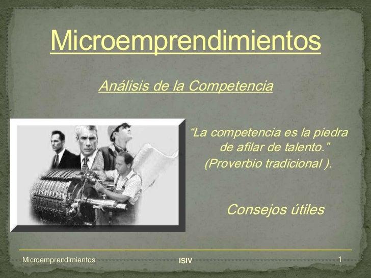 Analisis de la competencia - Microemprendimientos - Instituto ISIV