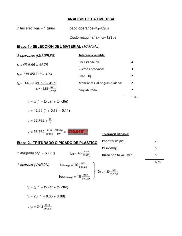 ANALISIS DE LA EMPRESA7 hrs efectivas = 1 turno               pago operarios=K1=8$us                                      ...