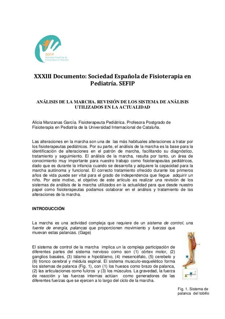 XXXIII Documento: Sociedad Española de Fisioterapia en                    Pediatría. SEFIP  ANÁLISIS DE LA MARCHA. REVISIÓ...