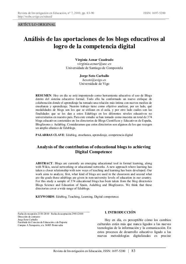 Revista de Investigación en Educación, nº 7, 2010, pp. 83-90 http://webs.uvigo.es/reined/ ISSN: 1697-5200 Revista de Inves...