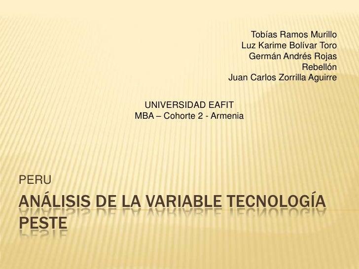 Analisis de la variable tecnologia PESTE