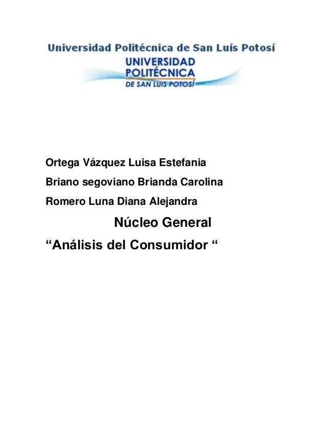 """Ortega Vázquez Luisa EstefaniaBriano segoviano Brianda CarolinaRomero Luna Diana AlejandraNúcleo General""""Análisis del Cons..."""