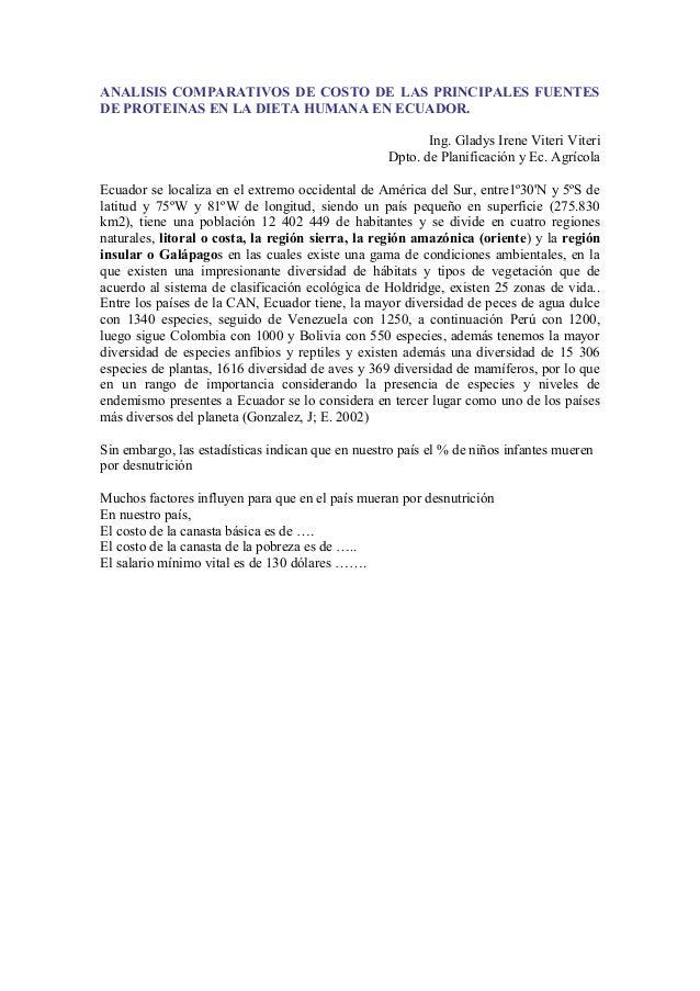 ANALISIS COMPARATIVOS DE COSTO DE LAS PRINCIPALES FUENTES DE PROTEINAS EN LA DIETA HUMANA EN ECUADOR. Ing. Gladys Irene Vi...