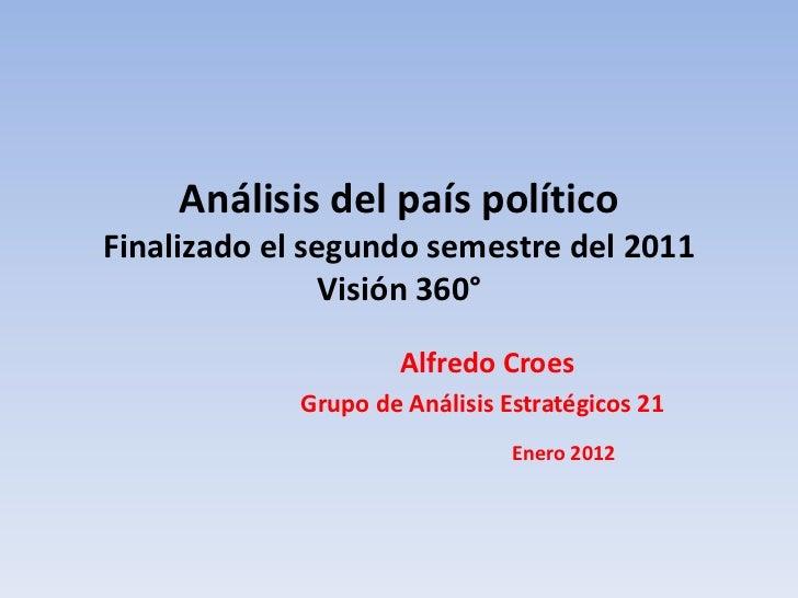 Análisis del país políticoFinalizado el segundo semestre del 2011               Visión 360°                      Alfredo C...
