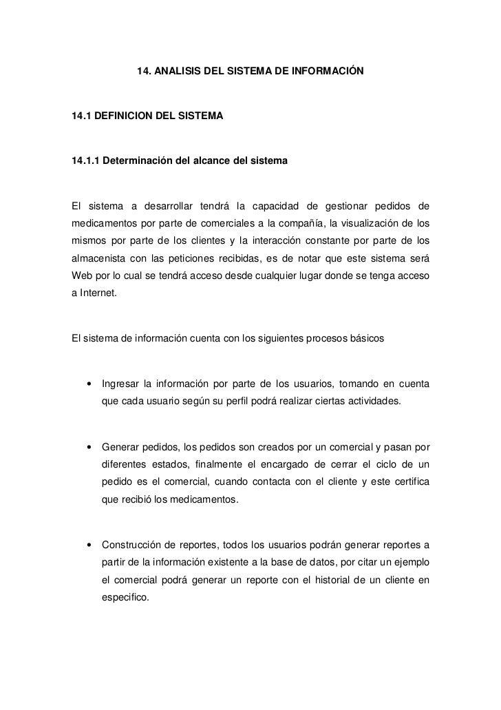 14. ANALISIS DEL SISTEMA DE INFORMACIÓN    14.1 DEFINICION DEL SISTEMA    14.1.1 Determinación del alcance del sistema    ...