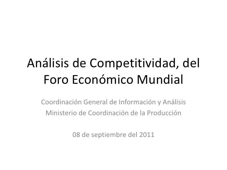 Analisis del Índice de Competitividad del WEF