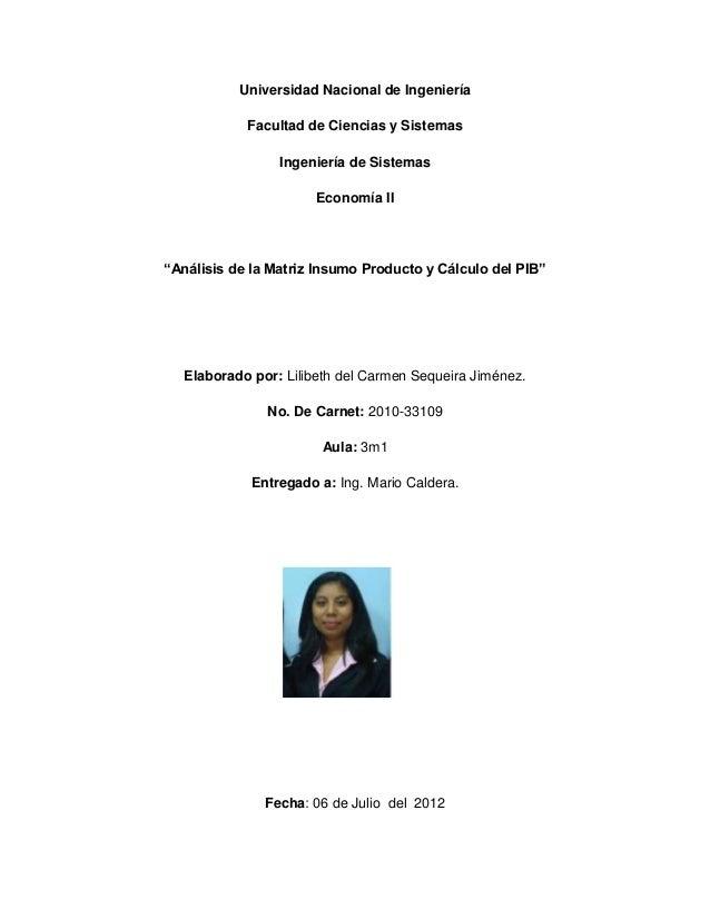 Universidad Nacional de Ingeniería            Facultad de Ciencias y Sistemas                 Ingeniería de Sistemas      ...