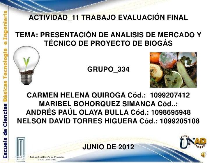ACTIVIDAD_11 TRABAJO EVALUACIÓN FINALTEMA: PRESENTACIÓN DE ANALISIS DE MERCADO Y       TÉCNICO DE PROYECTO DE BIOGÁS      ...