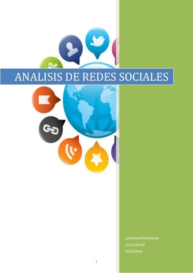 ANALISIS DE REDES SOCIALES  JUAN MARTÍN MOLINA 1º B CCAFYDE 02/02/2014 1