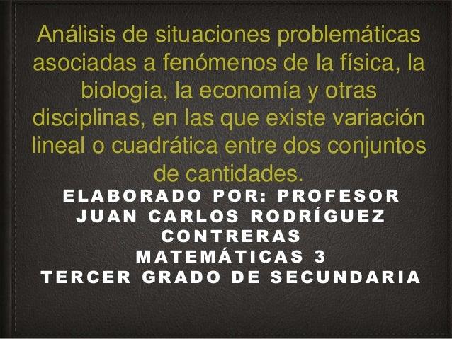 Análisis de situaciones problemáticas asociadas a fenómenos de la física, la biología, la economía y otras disciplin...