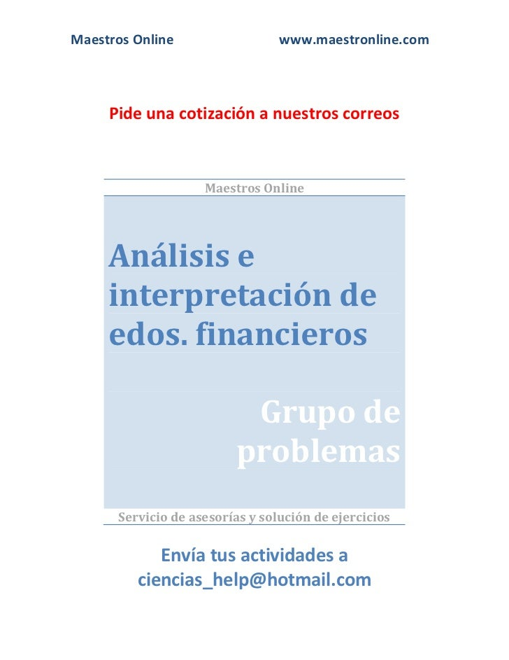 Analisis e interpretacion de estados financieros fi09001