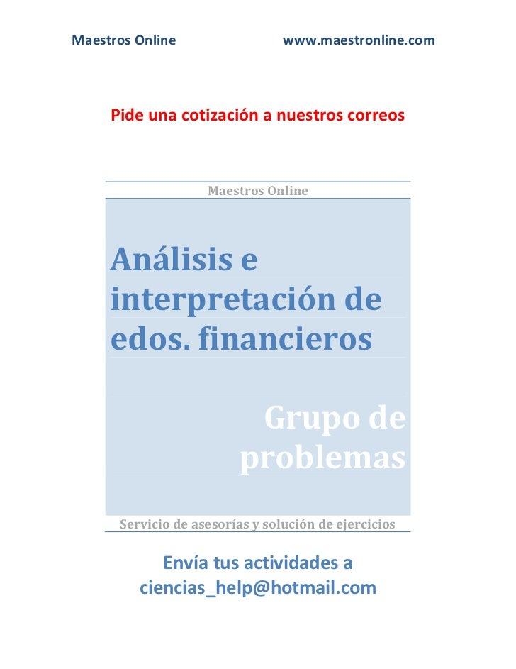 Analisis e interpretacion de estados financieros fi09001