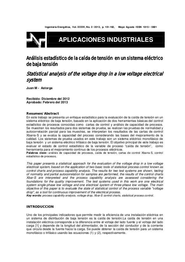 Ingeniería Energética, Vol. XXXIV, No. 2 / 2013, p. 151-162, Mayo/ Agosto ISSN 1815 - 5901 Análisis estadístico de la caíd...